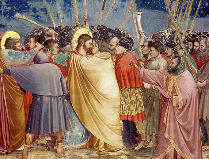 Giotto di Bondone, 'The Arrest of Christ (Kiss of Judas)', ca. 1305