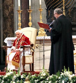 Pope Benedict XVI listens to a declaration from the Knights of Malta at ceremonies marking the organization's 900th anniversary.
