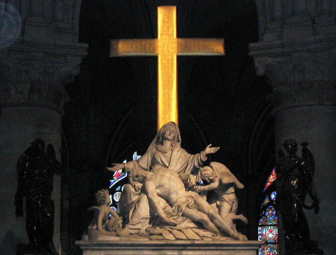 """Nicolas Coustou's """"Descent From the Cross"""" in Notre Dame Cathedral"""