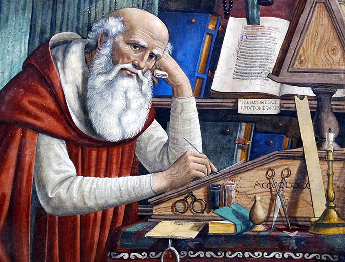 """Ghirlandaio, """"Saint Jerome in His Study"""" (detail), 1480, Church of Ognissanti, Florence, Italy"""