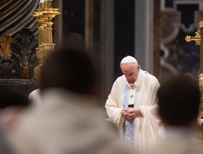 Pope Francis celebrates Mass for Solemnity of Mary, Mother of God Jan. 1, 2020.