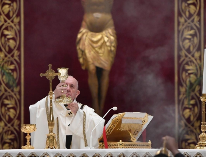 Pope Francis celebrates Mass for the Easter Vigil on April 11, 2020.