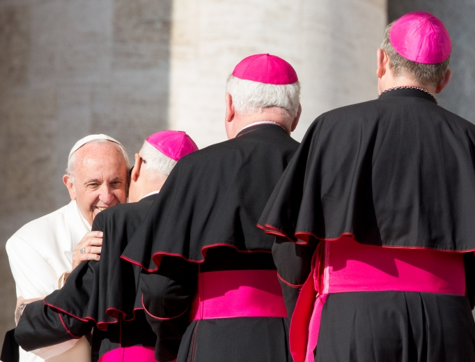 Pope Francis with cardinals and bishops at the general audience in St. Peter's Square Jan. 24.