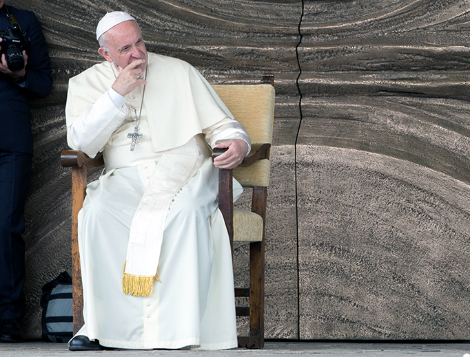 """Pope Francis at the """"Maria Theotokos"""" shrine in Loppiano, Italy on May 10, 2018."""