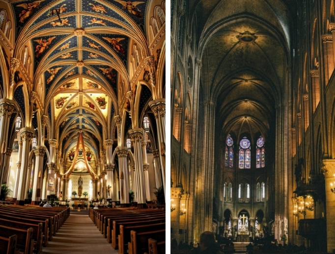 Above, l to r: Basilica of the Sacred Heart at the University of Notre Dame in South Bend, Indiana, and Notre Dame Cathedral in Paris; below, the baldacchino at the Shrine of Our Lady of Guadalupe in La Crosse, Wisconsin