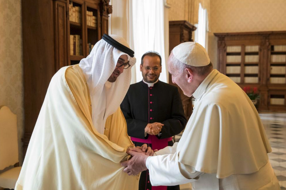Sheikh Mohamed bin Zayed, Crown Prince of Abu Dhabi and Deputy Supreme Commander of the Armed Forces, meeting Pope Francis during a visit to the Vatican in 2016.