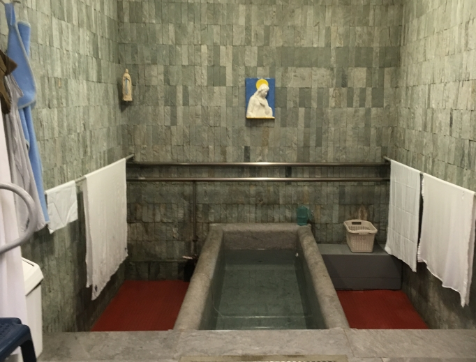 The baths at Lourdes have drawn the faithful to the locale where St. Bernadette saw the miraculous apparitions of Our Lady. Physical and spiritual healings abound.
