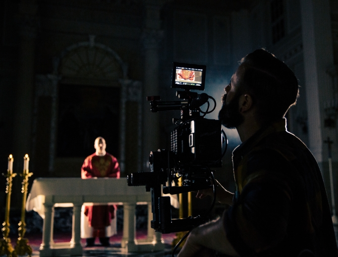 Above, Rob Kaczmark of Spirit Juice Studios captures a sacred moment on camera. Inset: Anthony D'Ambrosio, founder of 8beats.