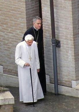 Benedict XVI with Archbishop Gaenswein in a photograph taken on Sunday.