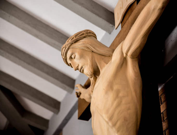 A crucifix at the House of the Divine Master in Ariccia on Feb. 28.