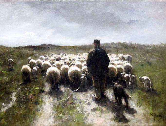 "Anton Mauve, ""Shepherd, Sheepdog and Sheep,"" c. 1880"