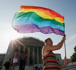 Homosexual activist celebrates June 26 outside the U.S. Supreme Court building in Washington.