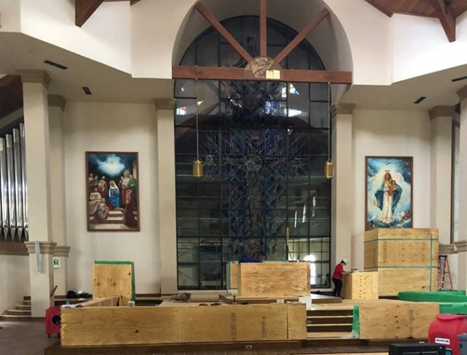 The interior of Queen of Peace Parish in Ocala, Florida during rebuilding after the church was set on fire July 11, 2020.