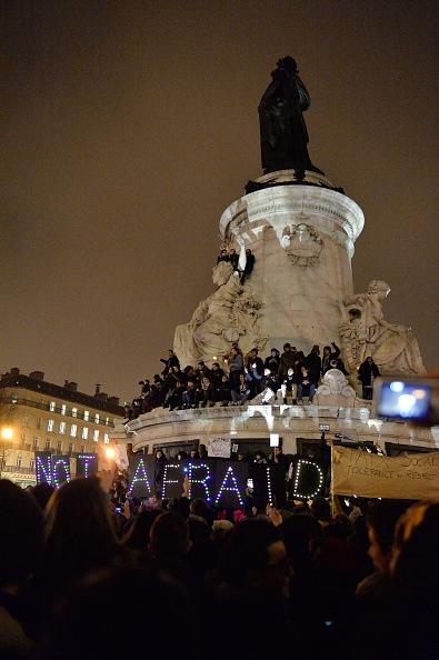 Tribute to victims killed during attack at satirical magazine Charlie Hebdo at Place de la Republique in Paris.