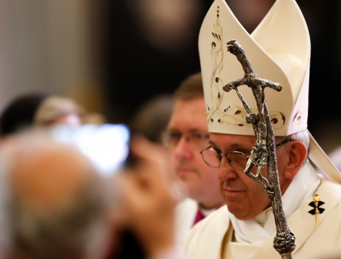 Pope Francis celebrates a Mass of thanksgiving at St. Mary Major Basilica in Rome Oct. 12 during the centenary celebration of the Pontifical Oriental Institute and the Congregation for Eastern Churches.