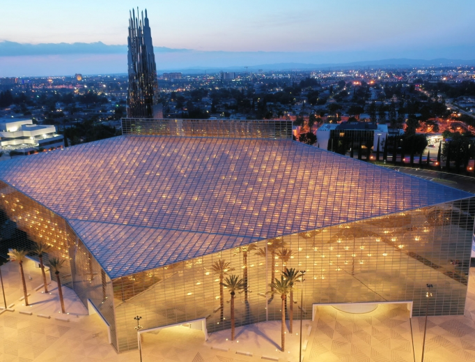 At night, Christ Cathedral in the Diocese of Orange looks like a glowing 'box of stars.' Other sacramental elements have been added to make the worship space decidedly Catholic amid the renovation.