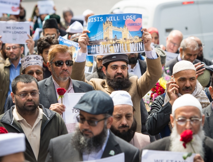 British imams and other religious leaders march to a vigil June 7 near the scene of the June 3 terrorist attack at London Bridge.