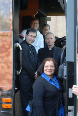 WELCOME ABOARD. Part of the Priests for Life team on the Freedom Bus. Clockwise from top right: Father Peter West, associate director; Augustinian Father Denis Wilde, associate director; Dr. Alveda King, director of African-American outreach; Father Frank Pavone, national director of Priests for Life; and Dominican Father Scott Daniels, pastoral associate.