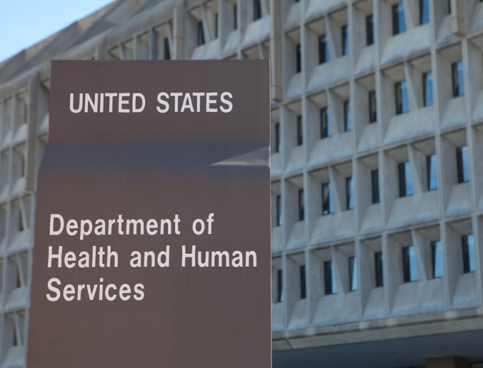 A sign is shown outside the Department for Health and Human Services in Washington, D.C.
