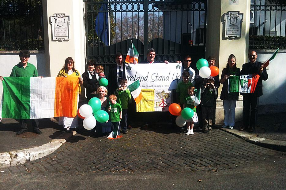 "Members of ""Ireland Stand Up"" and their children campaigning outside the front gates of Villa Spada, Rome, March 17th."