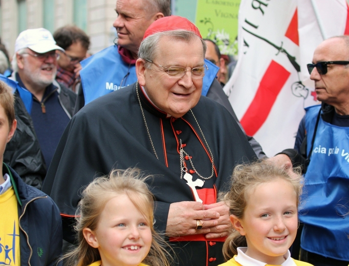Above, Cardinal Raymond Burke, the patron of the Sovereign Order of Malta, participates in the Rome March for Life May 18, which capped off the Rome Life Forum, which discussed the dangers and devastating consequences of building nations and human societies without Christ. Speakers included Cardinal Willem Eijk, the archbishop of Utrecht, Netherlands, and Auxiliary Bishop Athanasius Schneider of Astana, Kazakhstan.