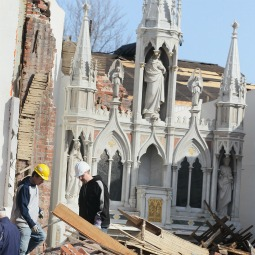 The stone altar of tornado-damaged St. Joseph's Church sits amid debris March 1 in Ridgeway, Ill. According to reports, at least 13 people died as severe weather swept through the middle of the country on Feb. 28. Almost 40 died in following storms in the Midwest and South.