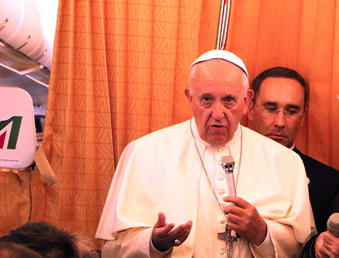 Pope Francis addresses the press corps on his return flight from Armenia on June 26. (Edward Pentin/National Catholic Register)