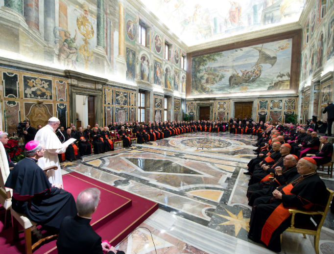 Dec. 21, 2018: Pope Francis delivers his annual pre-Christmas address to the Roman Curia.