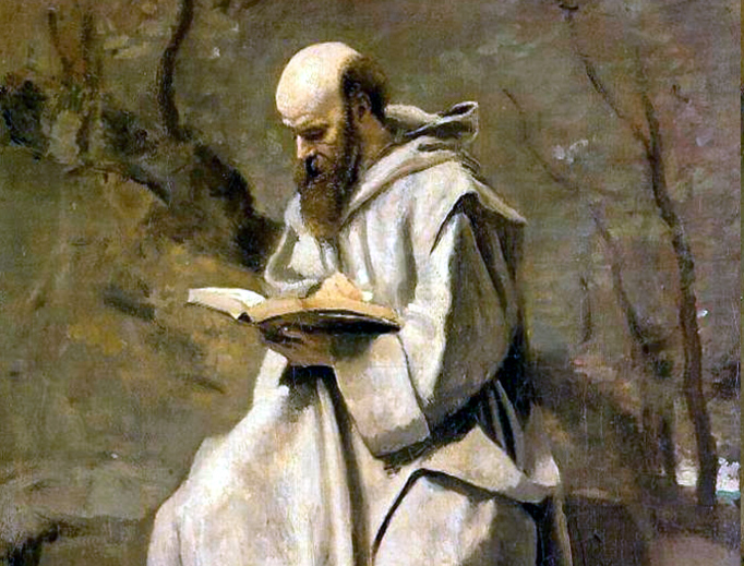 """Jean-Baptiste Camille Corot (1796-1875), """"Monk in White, Seated, Reading"""""""