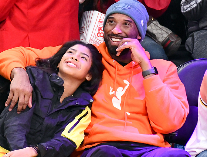 Kobe Bryant and daughter Gianna Bryant attend a basketball game between the Los Angeles Lakers and the Dallas Mavericks at Staples Center on Dec. 29, 2019 in Los Angeles.