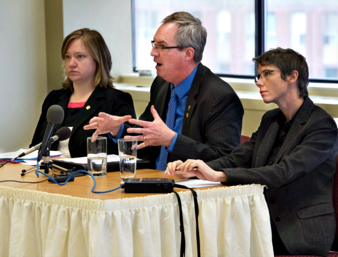 From left,lawyers Amy Sakalauskas, Ronald MacDonald and Elaine Craig make a presentation regarding Trinity Western University's proposed law school to the Nova Scotia Barristers' Society executive committee in Halifax. Critics believe that the nature of the school's community covenant agreement is discriminatory.