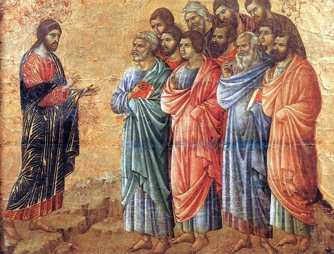 "IMAGE: Duccio di Buoninsegna, ""Appearance on the Mountain in Galilee,"" c. 1310"