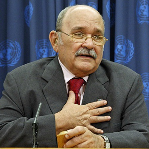 Maryknoll Father Miguel d'Escoto Brockmann, President of the sixty-third session of the UN General Assembly, at a press conference Nov. 11, 2008.