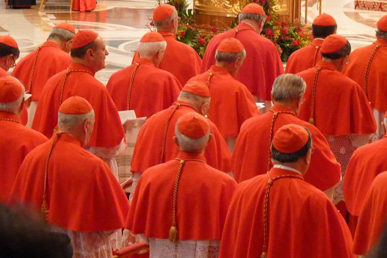 A consistory of cardinals in St. Peter's Basilica.