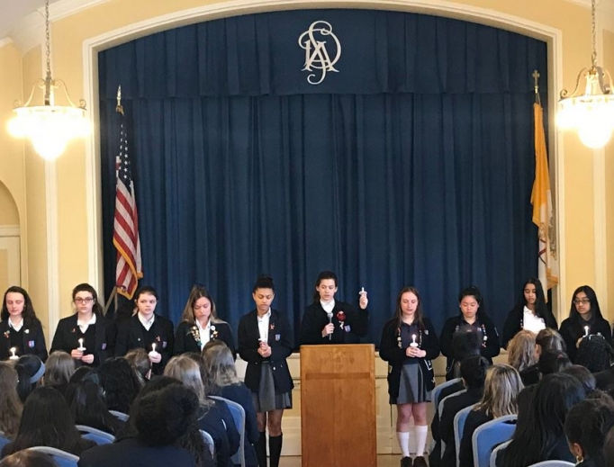 St. Dominic Academy students in the Archdiocese of Newark, New Jersey, pray for peace and for victims of the Parkland shooting.