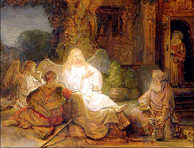 """Rembrandt (1606-1669), """"Abraham Serving the Three Angels"""""""