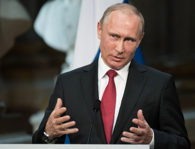 Vladimir Putin during a press conference at the Palace of Versailles on May 26, 2017.