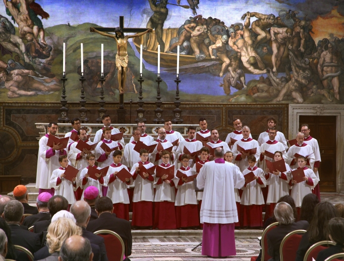 The Sistine Chapel Choir performs in its namesake church at the Vatican.