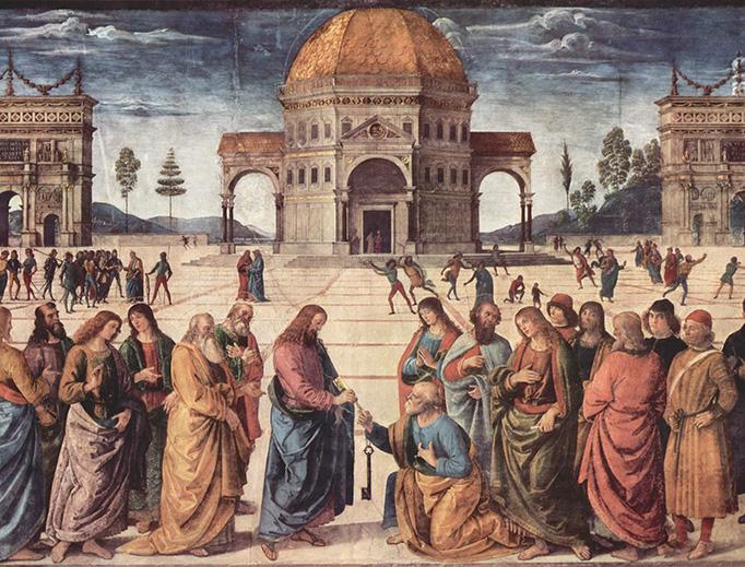 """Pietro Perugino, """"Christ Handing the Keys to St. Peter"""", c. 1481"""