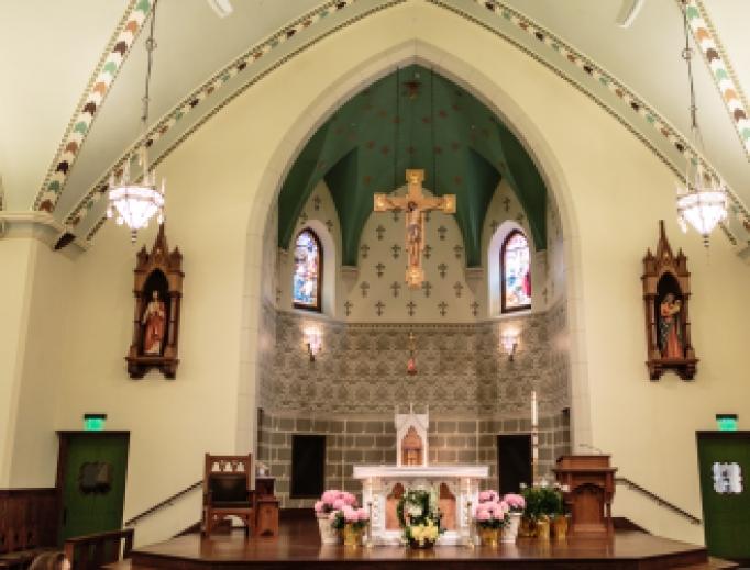 Altar inside Sacred Heart Church in Weymouth.