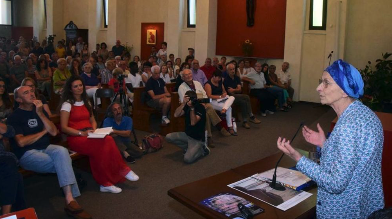 Emma Bonino speaks in front of an audience in the church of San Defendente in San Rocco di Cossato, Italy, July 26, 2017.
