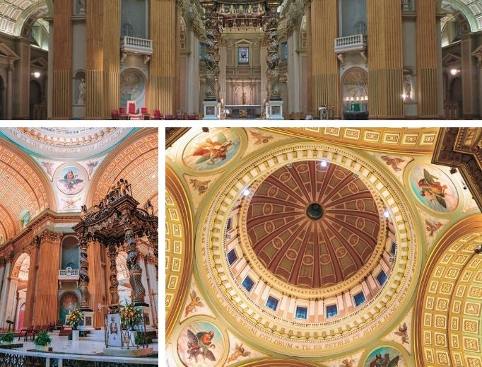 The Cathedral-Basilica of Mary, Queen of the World is a scaled-down version of St. Peter's in Rome.