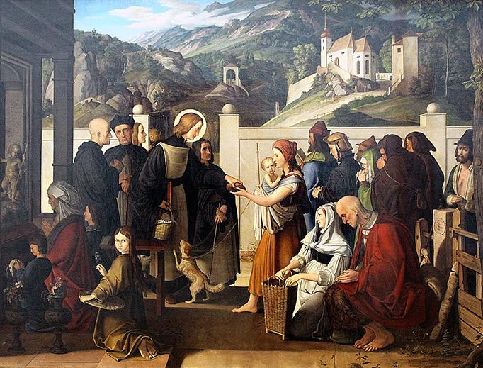 """Julius Schnorr von Carolsfeld (1794-1872), """"Saint Rochus Distributing Alms"""""""