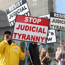 Supporters of Prop 8 demonstrated outside the Ninth Circuit Court of Appeals in San Francisco last December.