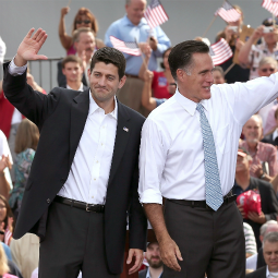Republican presidential candidate, former Massachusetts Gov. Mitt Romney and U.S. Rep. Paul Ryan, R-WI, wave as Ryan is announced as his vice-presidential running mate in front of the USS Wisconsin Aug. 11 in Norfolk, Va.
