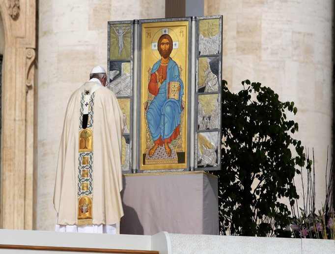 Pope Francis celebrates Easter Sunday Mass in St. Peter's Square on April 16.