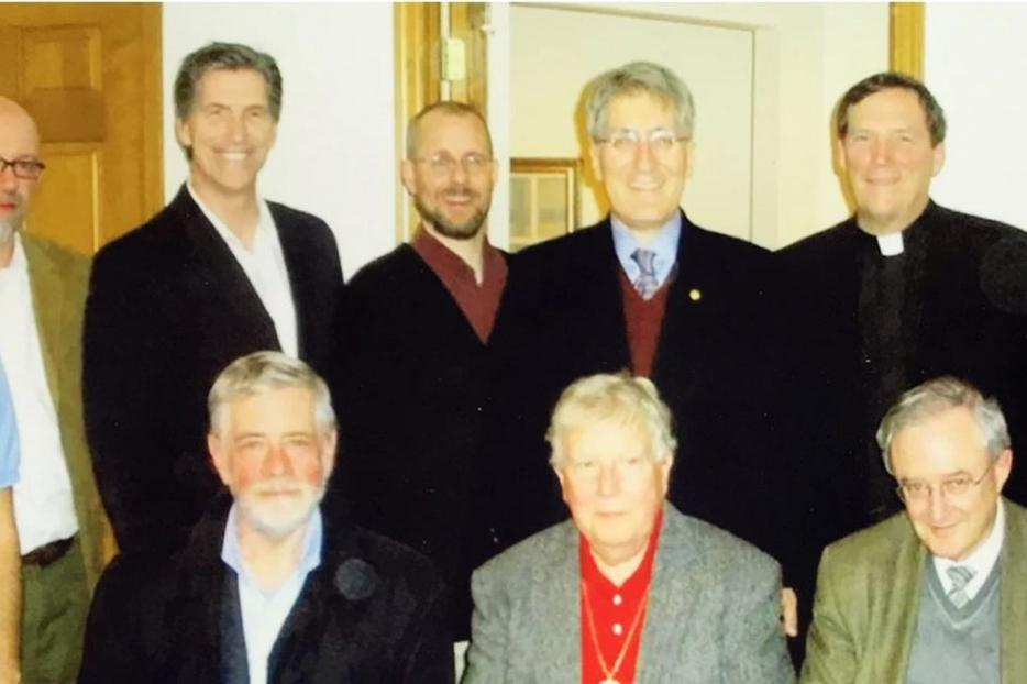 FOUR GENERATIONS OF GRISEZ SCHOLARS. First: Germain Grisez, John Finnis and Joseph Boyle; second: Robert P. George, Jesuit Father Peter Ryan and Patrick Lee; third: Christopher Tollefsen, Christian Brugger; fourth: Sherif Girgis and Ryan Anderson.