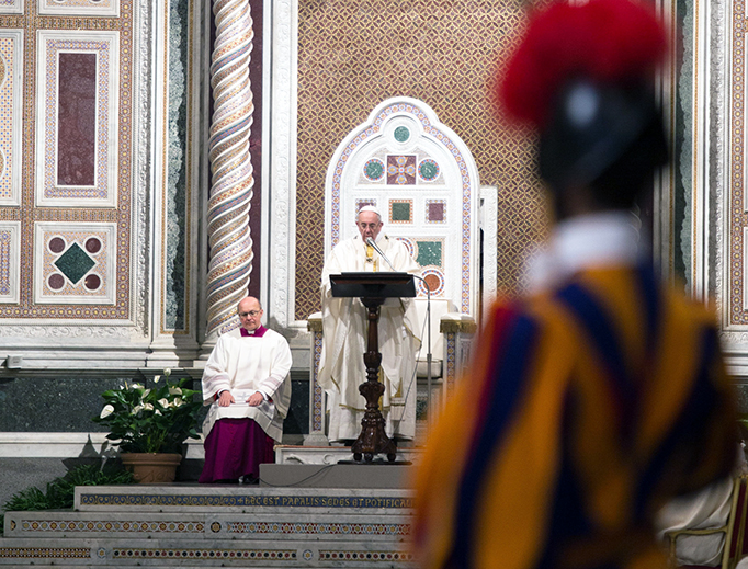 Pope Francis preaches at his cathedra in the Basilica of St. John Lateran on January 21, 2017.
