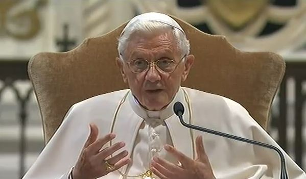 "Pope Benedict XVI speaking at the inauguration of Rome diocese's ecclesial congress, June 11th in the basilica of St. John Lateran. The theme of the three-day event was: ""Go and make disciples, baptising and teaching. Let us rediscover the beauty of Baptism""."
