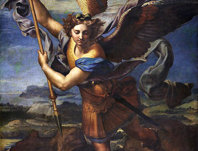 "ABOVE: Raphael, ""Saint Michael Vanquishing Satan,"" 1518. BELOW: Illustrator Louis Le Breton's depiction of Behemoth, a heavy, stupid demon, from Collin de Plancy's Dictionnaire Infernal, 1863, first published in 1818."